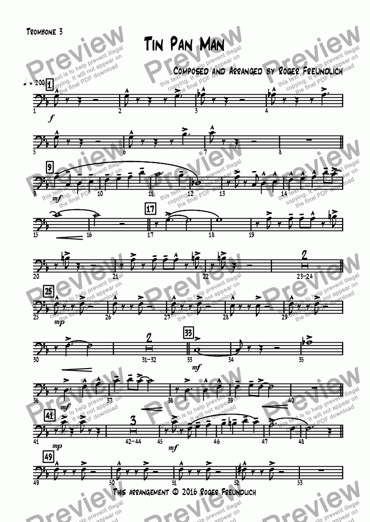 page one of the Trombone 3 part from Tin Pan Man
