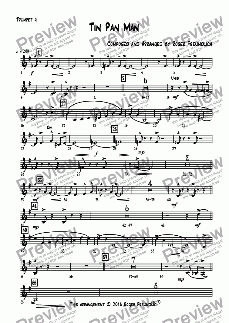 page one of the Trumpet 4 part from Tin Pan Man