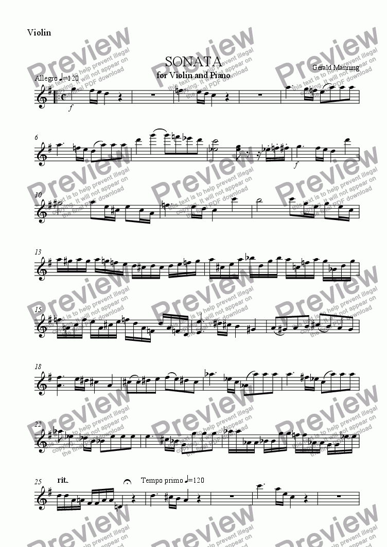 page one of the Violin part from MANNING, G. - Sonata for Violin & Piano, Op.9 - 1st movement
