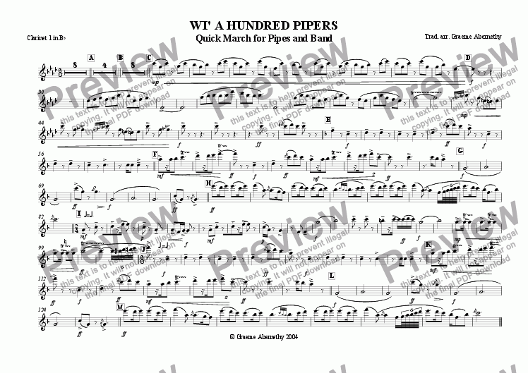 page one of the Clarinet 1 in Bb part from Wi' a Hundred Pipers