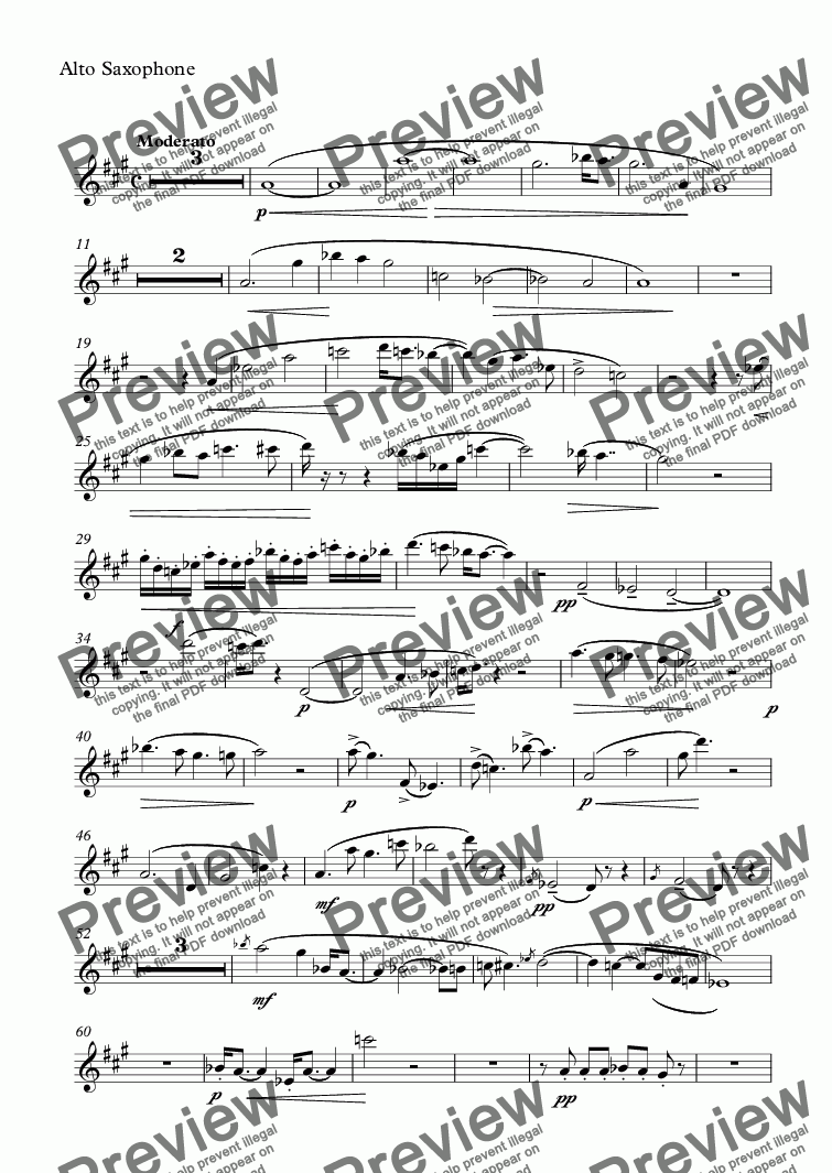 page one of the Alto Saxophone part from Fantasy for Alto Saxophone, Marimba and Vibraphone