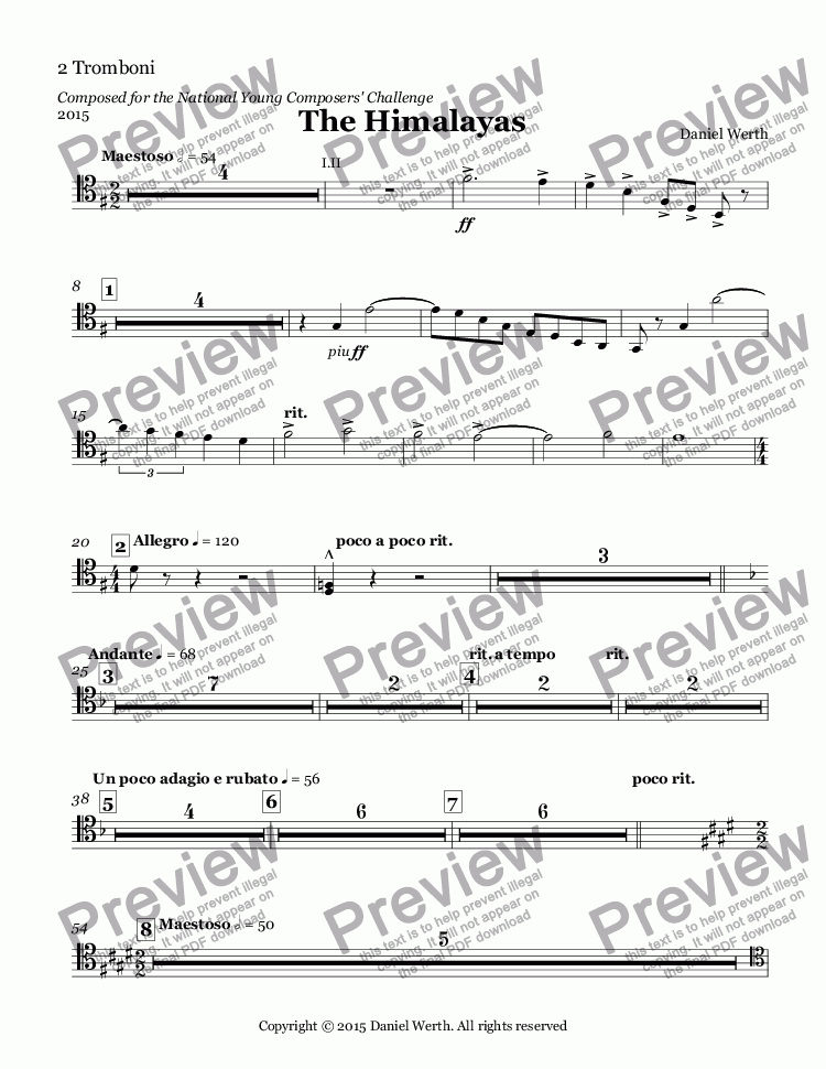 page one of the 2 Tromboni part from The Himalayas, 2015