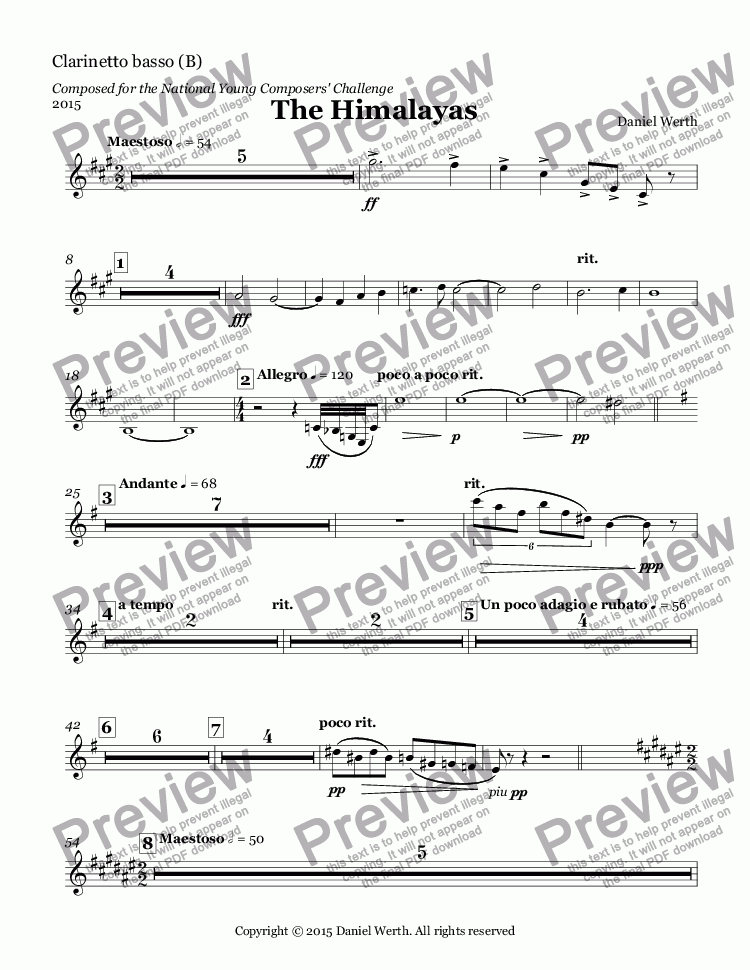page one of the Clarinetto basso (B) part from The Himalayas, 2015