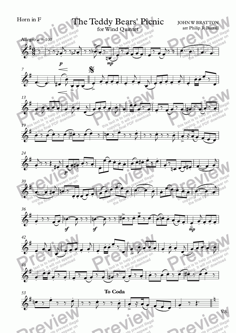 page one of the Horn in F part from The Teddy Bears' Picnic (Wind Quintet)