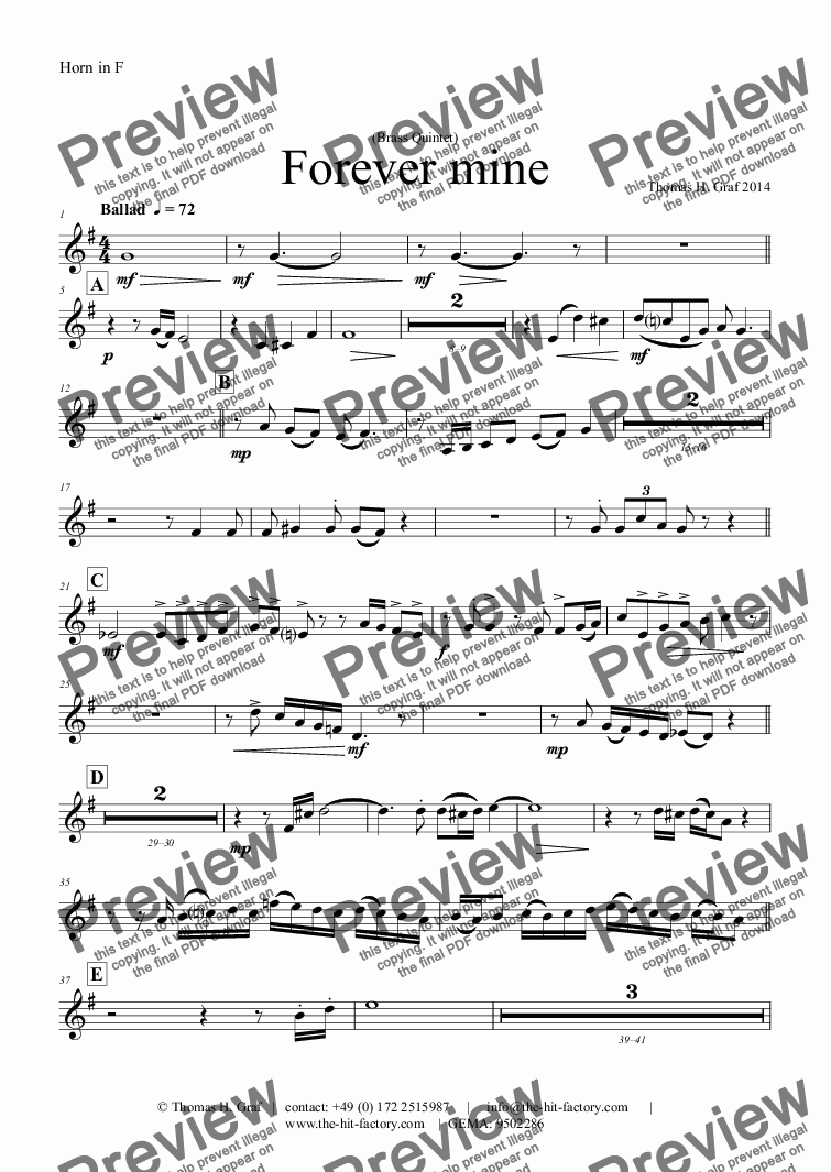 page one of the Horn in F part from Forever mine - Ballad - Jazz - Brass Quintet
