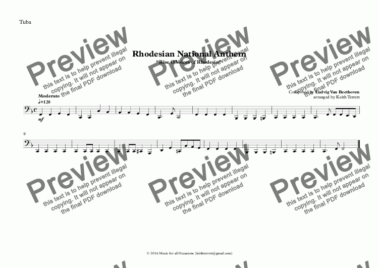 "page one of the Tuba part from Rhodesian National Anthem ""Rise O Voices of Rhodesia"" for Brass Quintet"