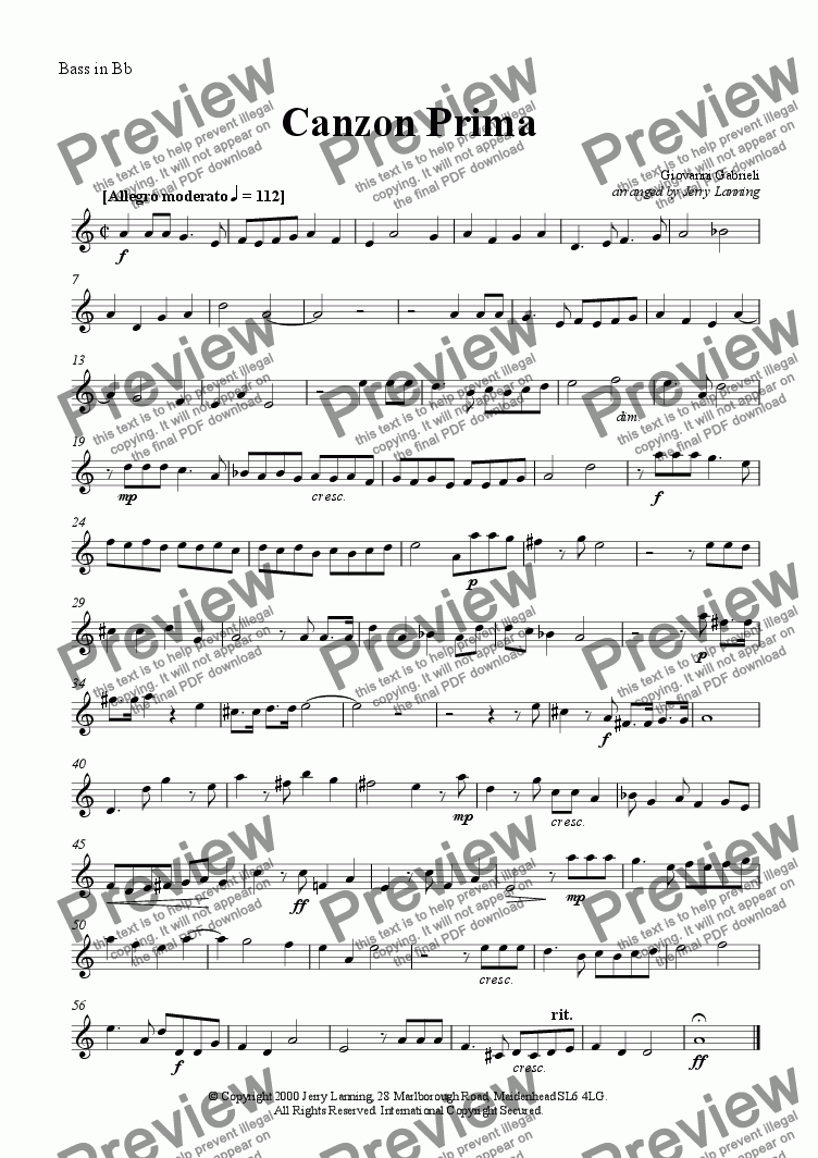 page one of the Bass in Bb part from Canzon Prima (brass quintet)