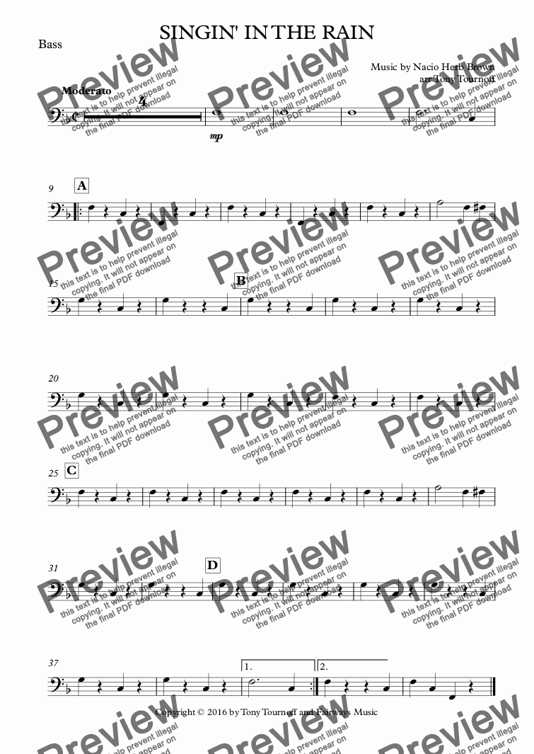 page one of the Bass part from SINGIN' IN THE RAIN