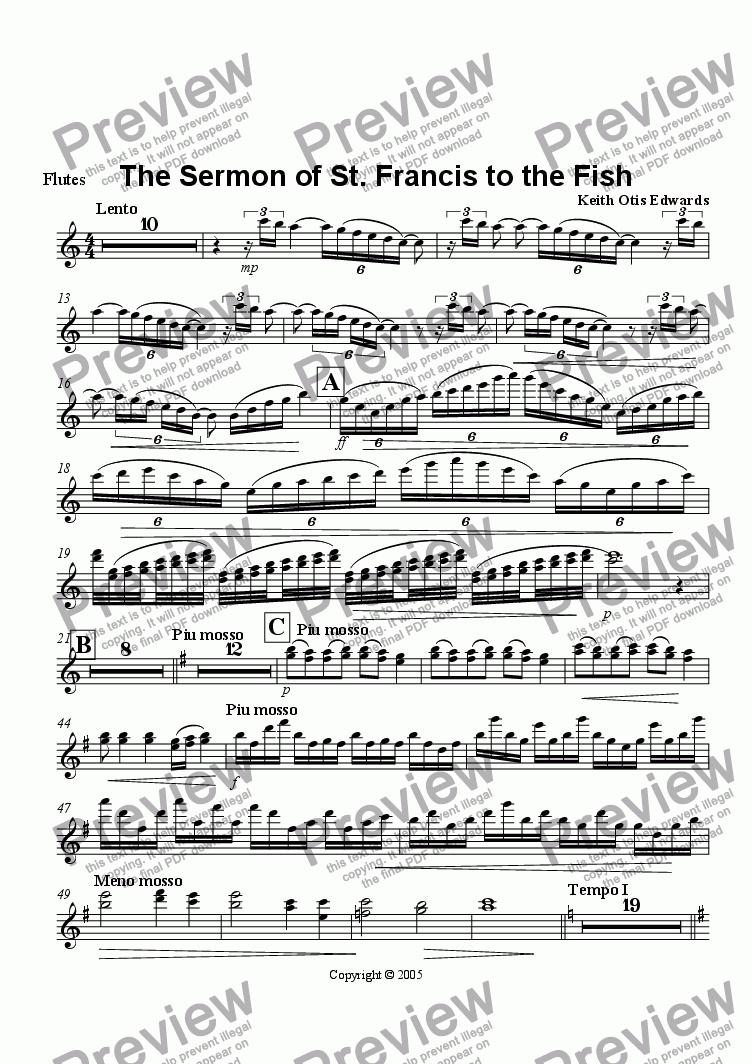 page one of the Flutes 1&2 part from St. Francis's Sermon to the Fish