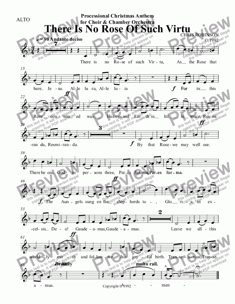 page one of the ALTO part from There Is No Rose Of Such Virtu