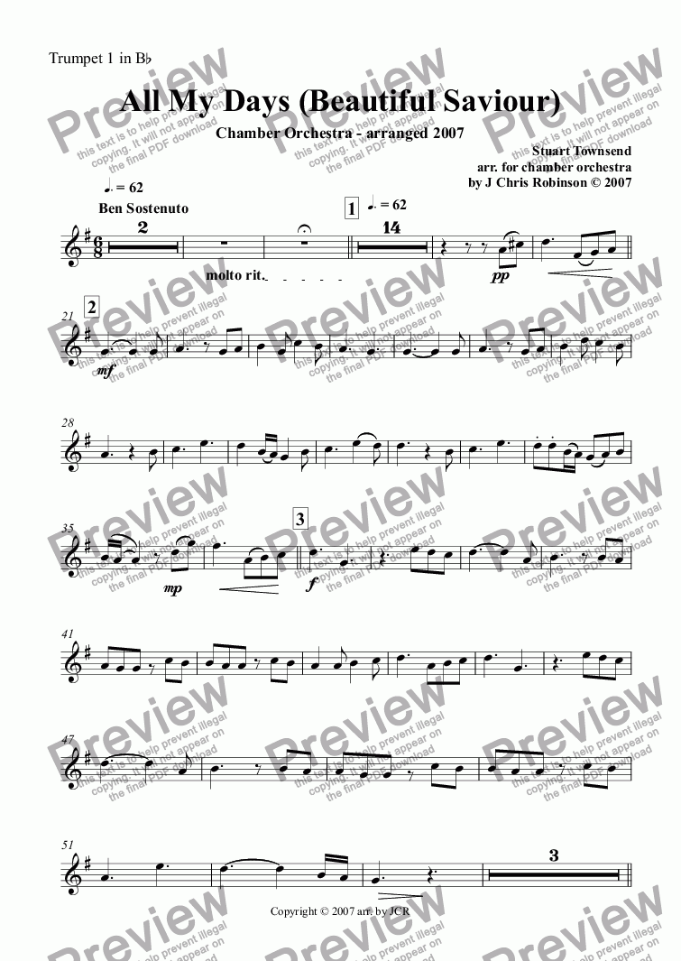 page one of the Trumpet 1 in B^b part from All My Days (Beautiful Saviour)