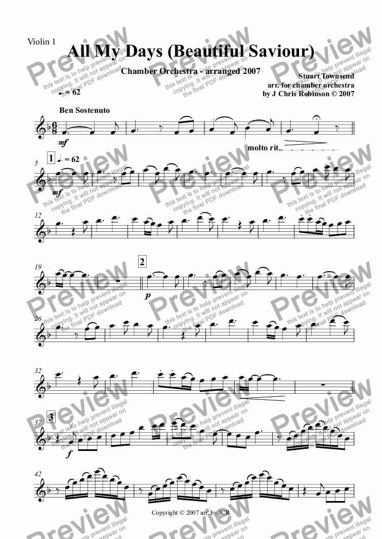 page one of the Violin 1 part from All My Days (Beautiful Saviour)