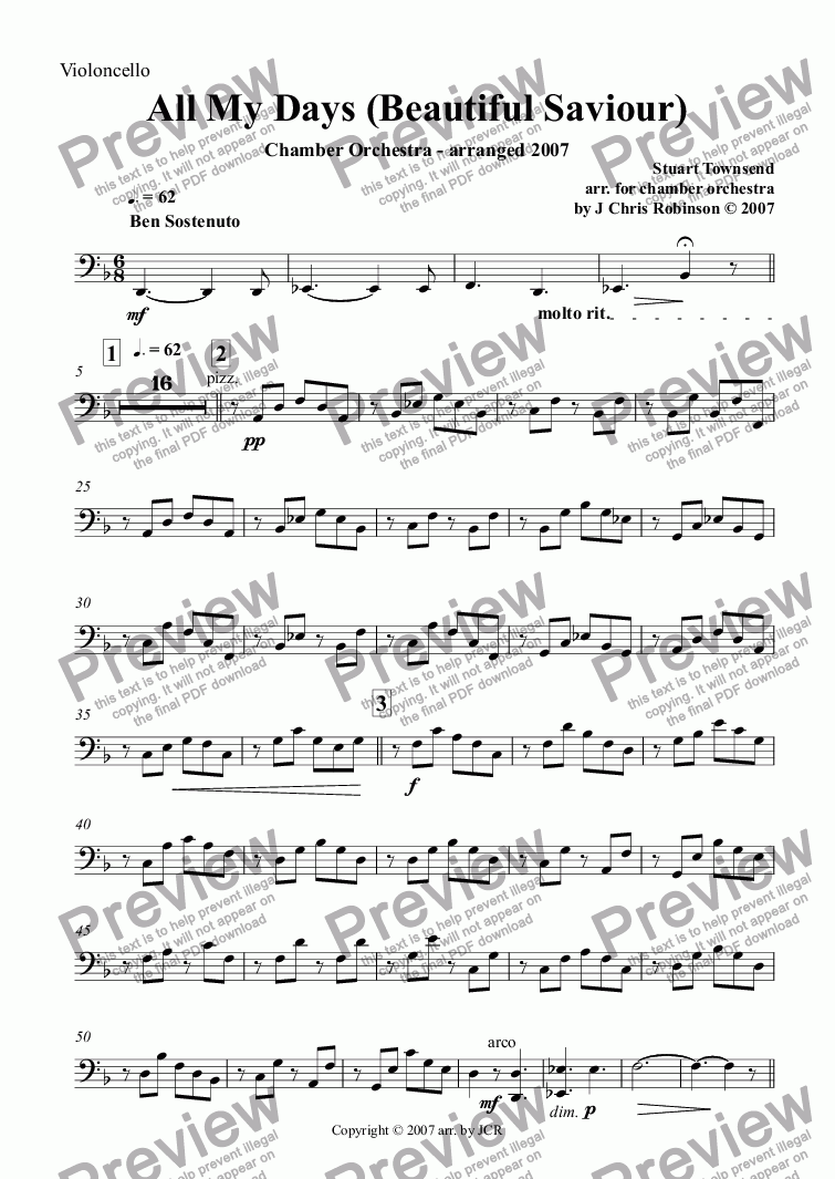 page one of the Violoncello part from All My Days (Beautiful Saviour)