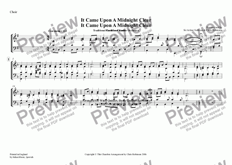 page one of the Choir part from It Came Upon A Midnight Clear