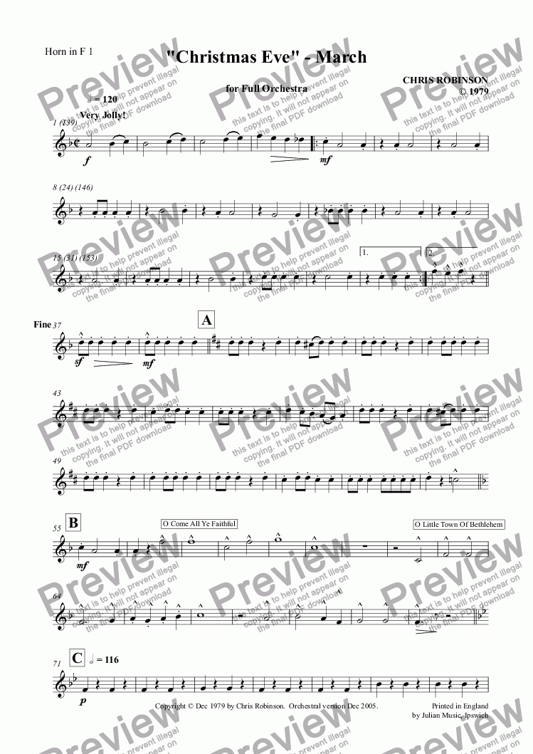 "page one of the Horn in F 1 part from ""Christmas Eve"" - March"