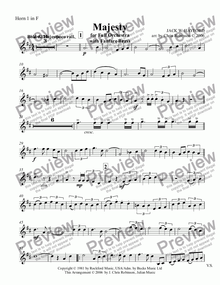 page one of the Horn 1 in F part from Majesty