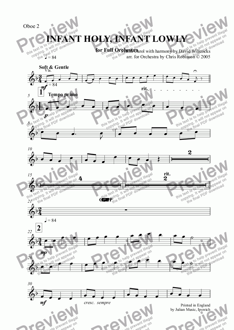 page one of the Oboe 2 part from INFANT HOLY, INFANT LOWLY