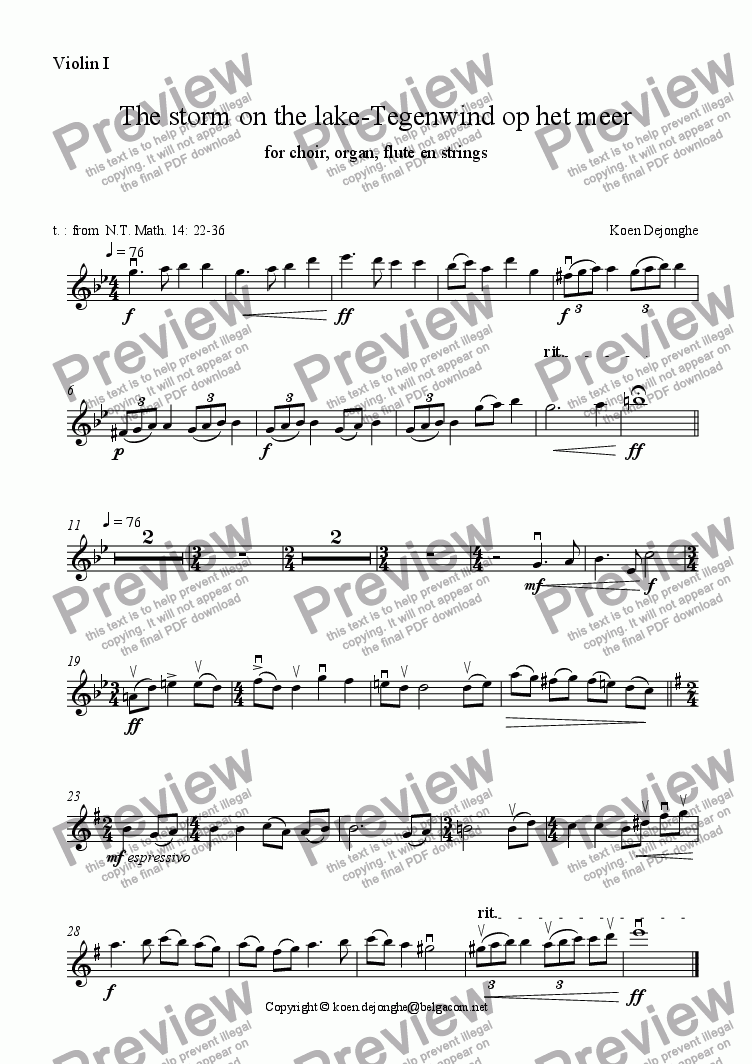 "page one of the Violin 1 part from ""The storm on the lake"" for choir, organ and string orchestra"