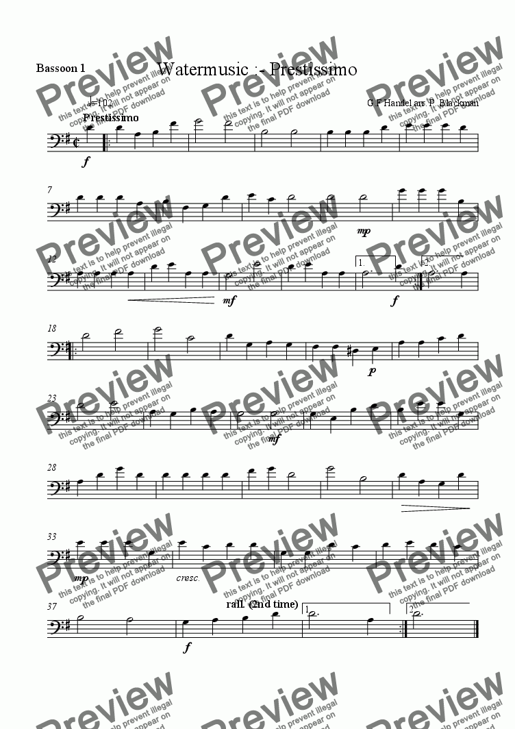 page one of the bassoon 1 part from Watermusic Presto
