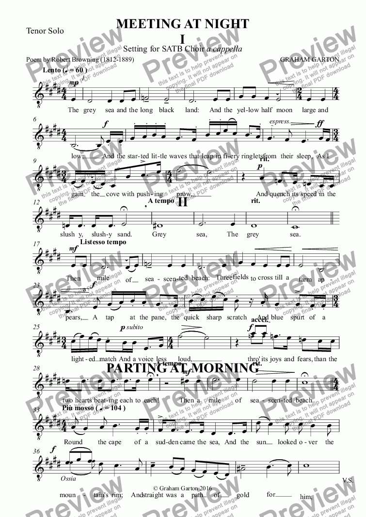 page one of the Tenor Solo part from CHORAL SONGS - 'MEETING AT NIGHT' - 'PARTING AT MORNING' Poems: ROBERT BROWNING  - Transcriptions for TENOR SOLO and Piano