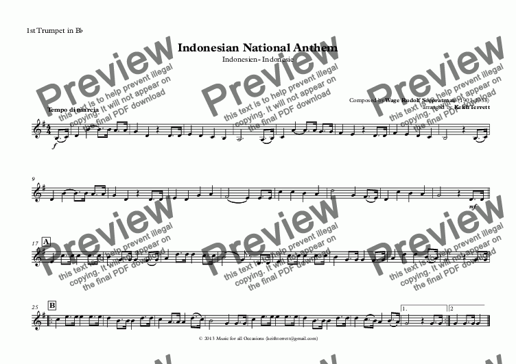 page one of the 1st Trumpet in B^b part from Indonesian National Anthem for Brass Quintet (MFAO World National Anthem Series)