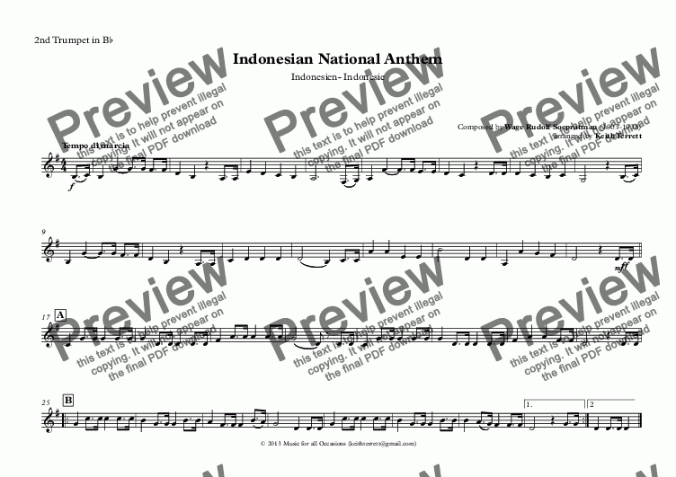page one of the 2nd Trumpet in B^b part from Indonesian National Anthem for Brass Quintet (MFAO World National Anthem Series)