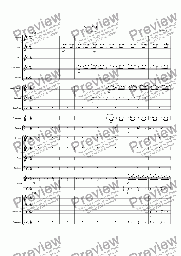 page one of the PIANO part from Voices