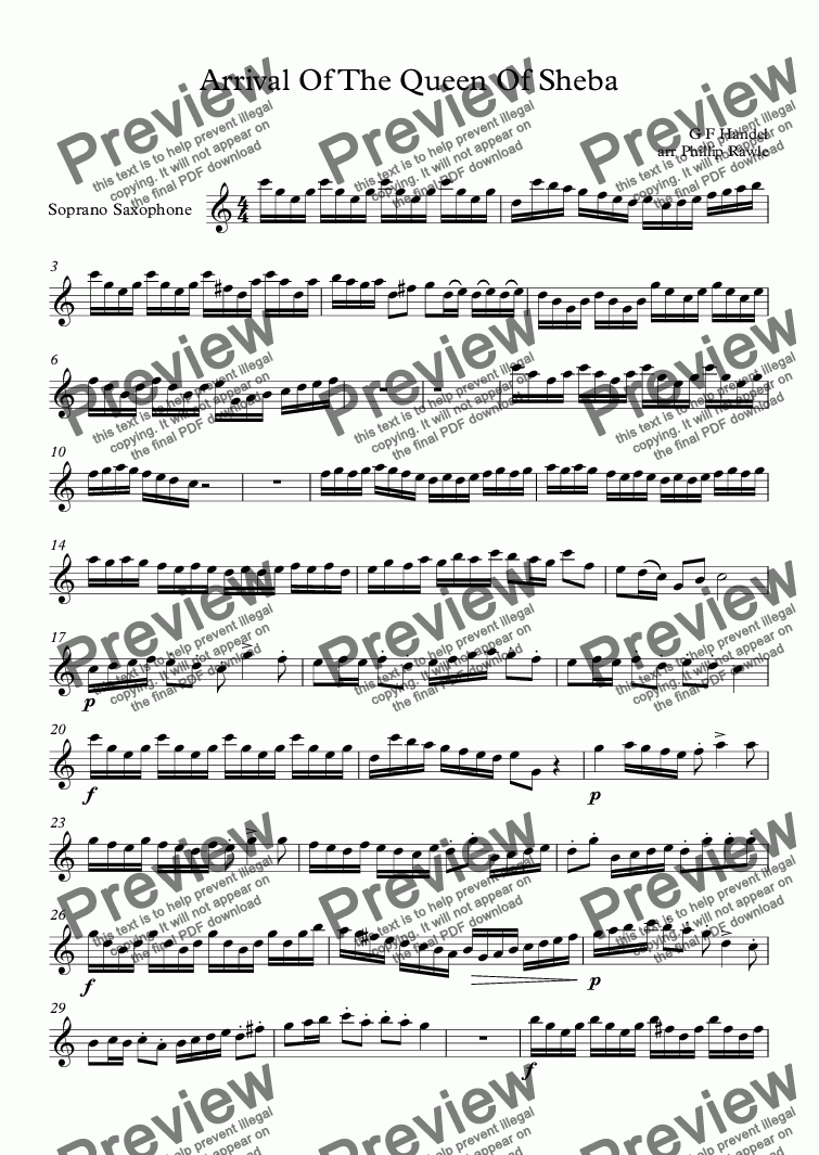 page one of the Soprano Saxophone part from Arrival Of The Queen Of Sheba - Sax Quartet