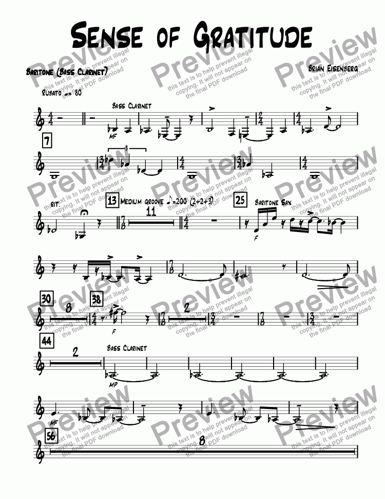 page one of the Baritone (Bass Clarinet) part from Sense of Gratitude