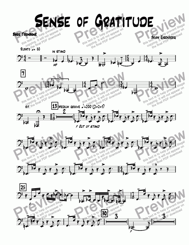 page one of the Bass Trombone part from Sense of Gratitude