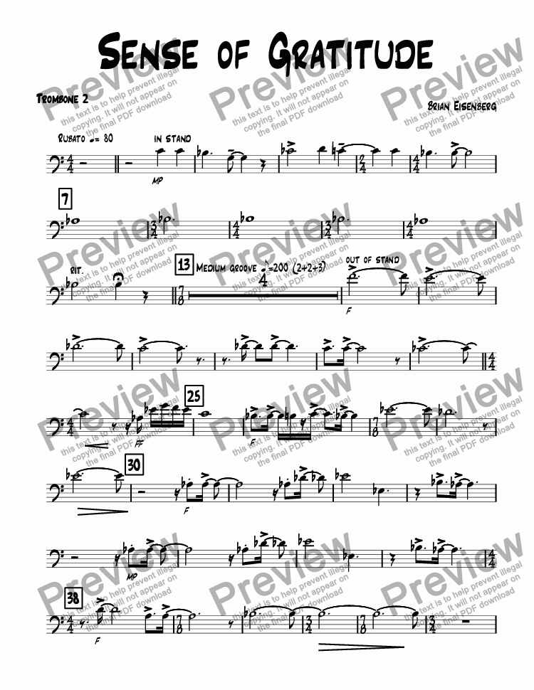 page one of the Trombone 2 part from Sense of Gratitude