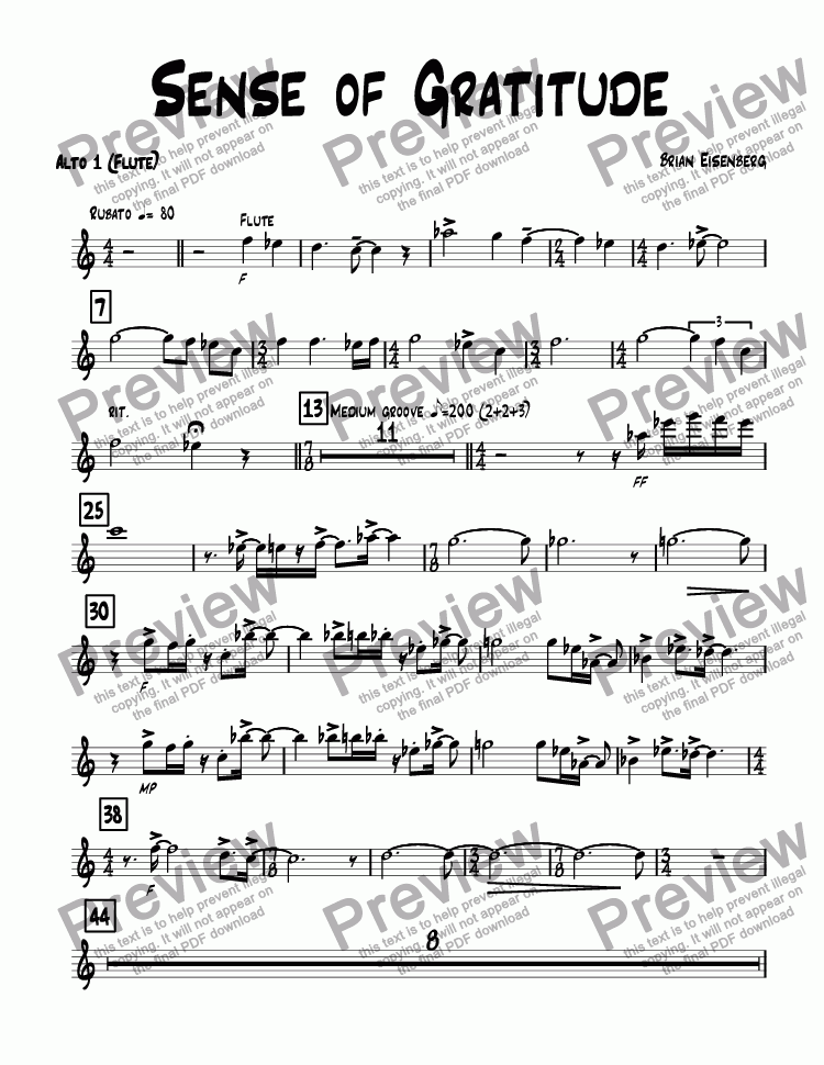 page one of the Alto 1 (Flute) part from Sense of Gratitude