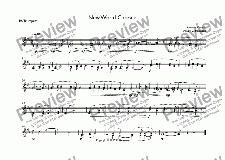 page one of the Bb Trumpets part from New World Chorale