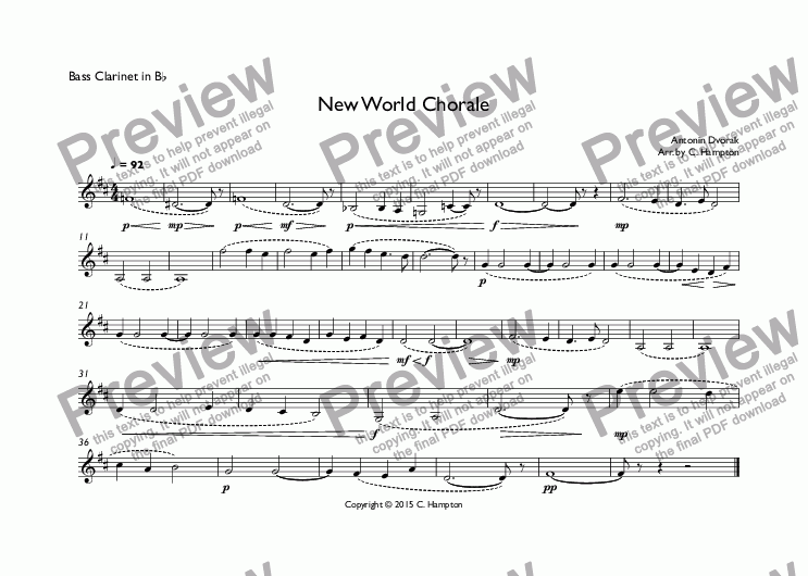 page one of the Bass Clarinet in B^b part from New World Chorale