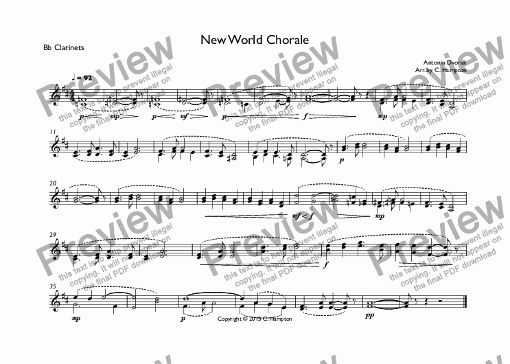 page one of the Bb Clarinets part from New World Chorale