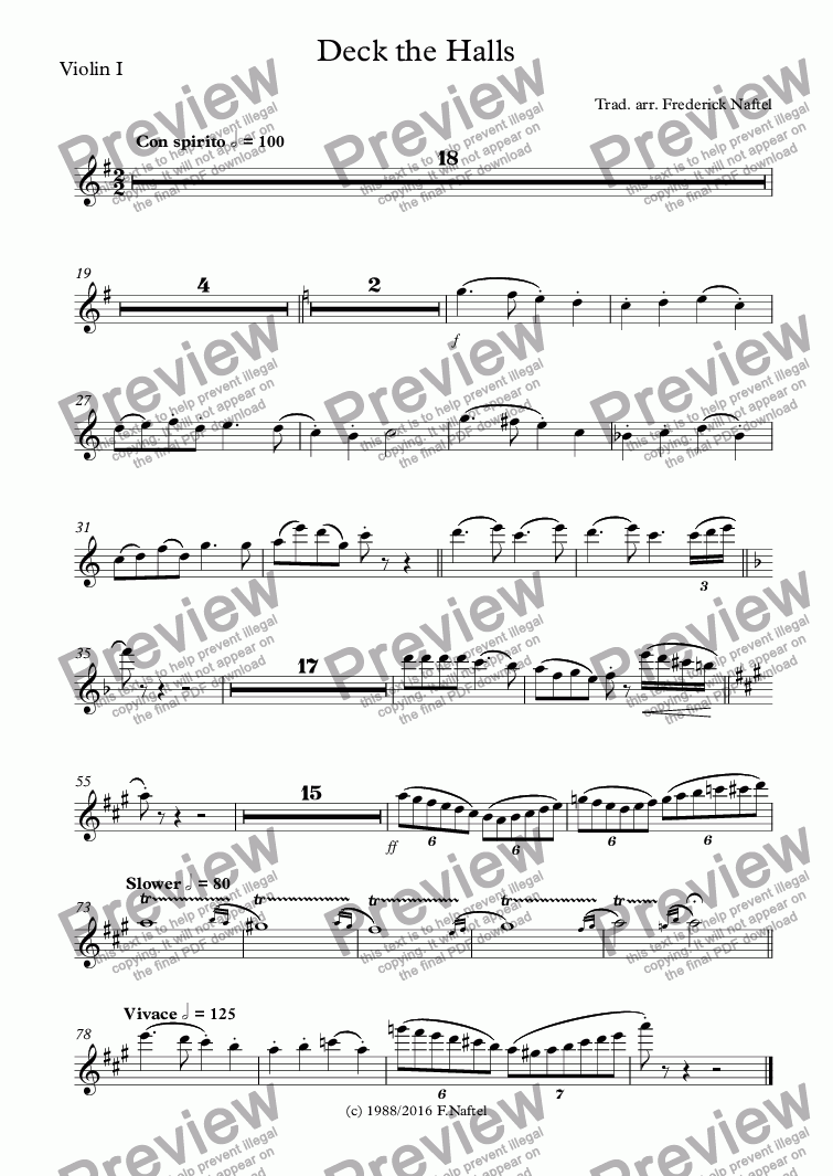 page one of the Violin I part from Deck the Halls