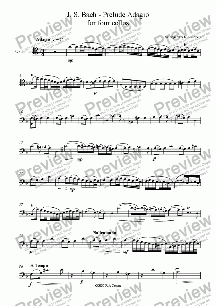 page one of the cello 1 part from Bach - PRELUDE ADAGIO - for cello quartet