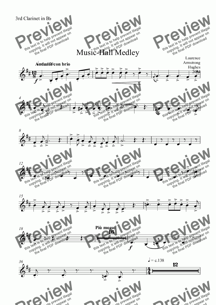 page one of the 3rd Clarinet in B^b part from Music-Hall Medley