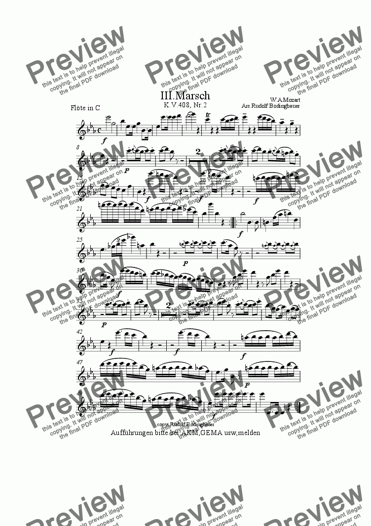 page one of the Fl�te in C part from 3.Marsch W.A.Mozart  Blasorchester