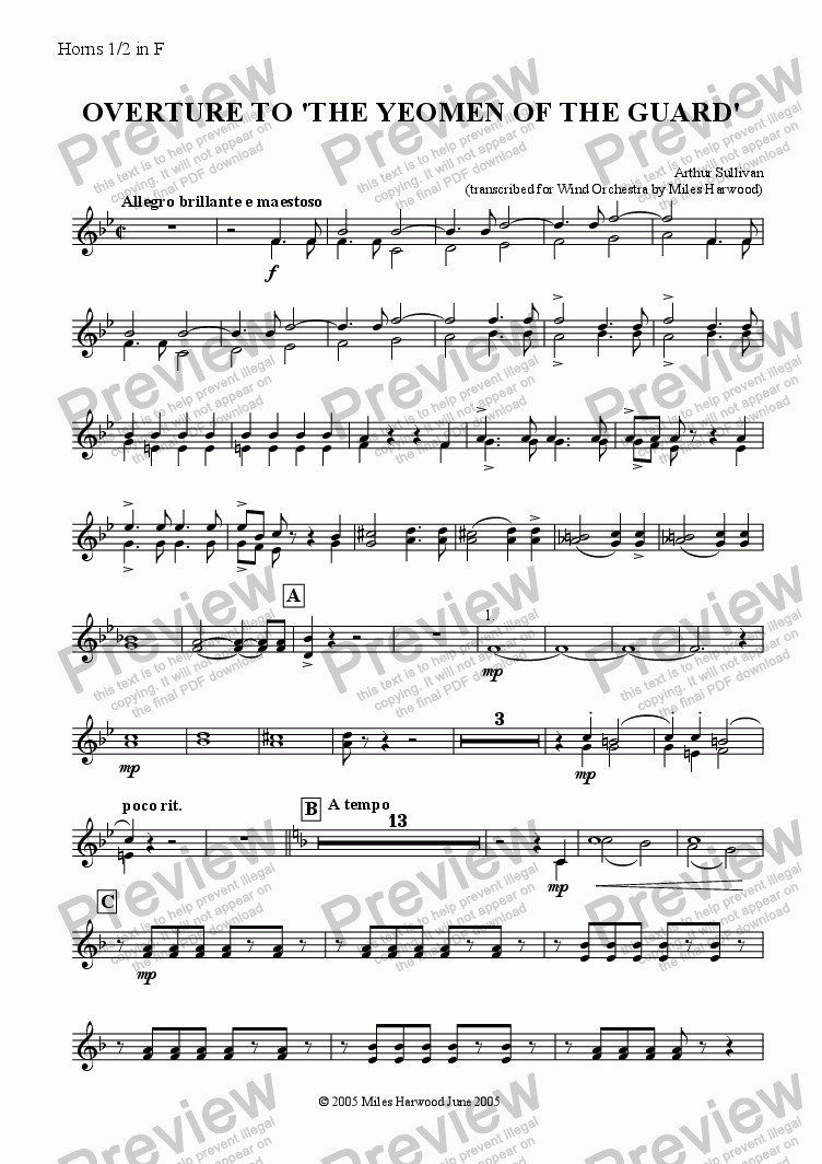 page one of the Horns 1/2 in F part from Overture to 'The Yeomen of the Guard'