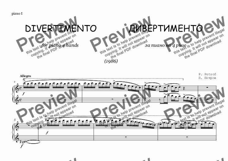 page one of the piano I part from DIVERTIMENTO - piano 4 hands