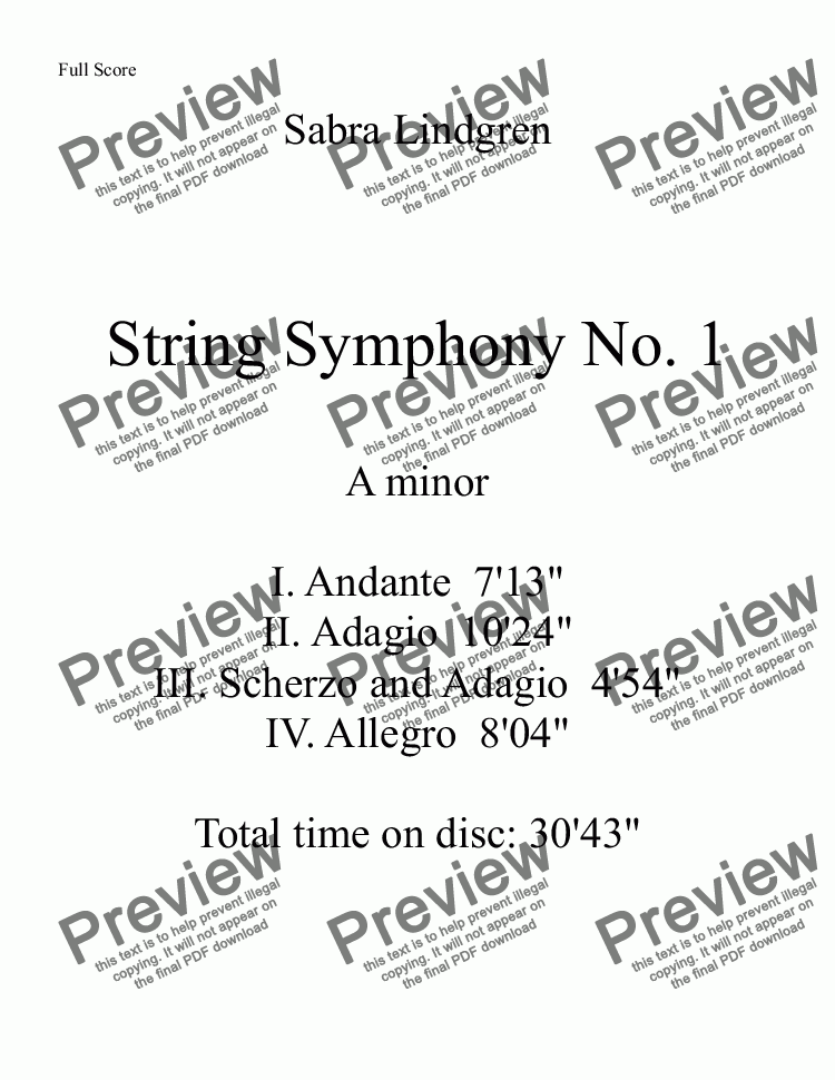page one of the String Symphony No. 1 I. Andante part from String Symphony No. 1 in A minor, I. Andante