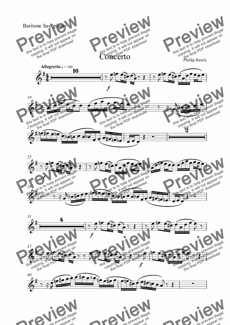 page one of the Baritone Saxophone part from Concerto