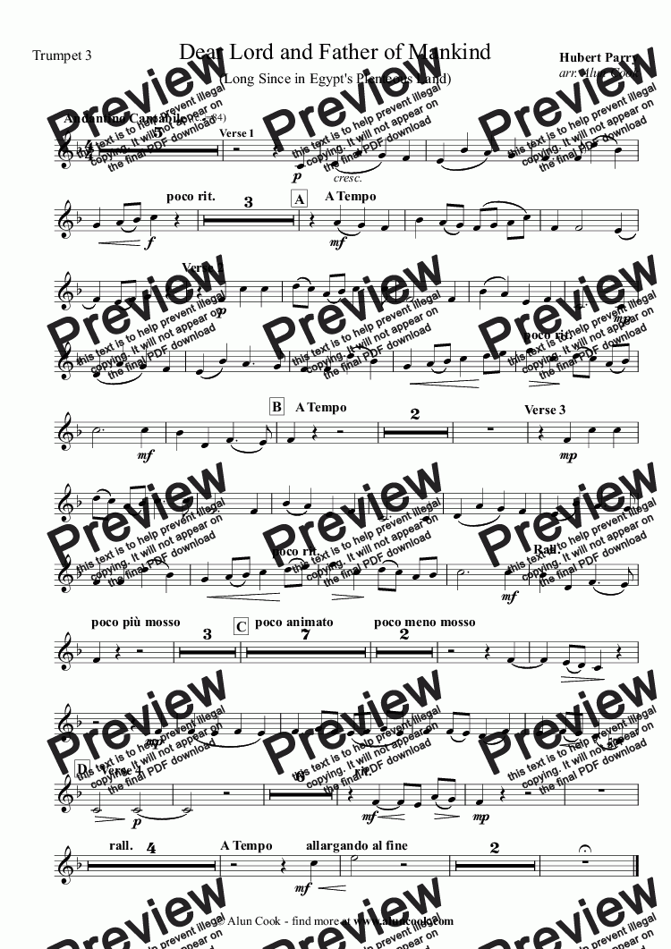 page one of the Trumpet 3 part from Dear Lord and Father of Mankind (10 Piece Brass)
