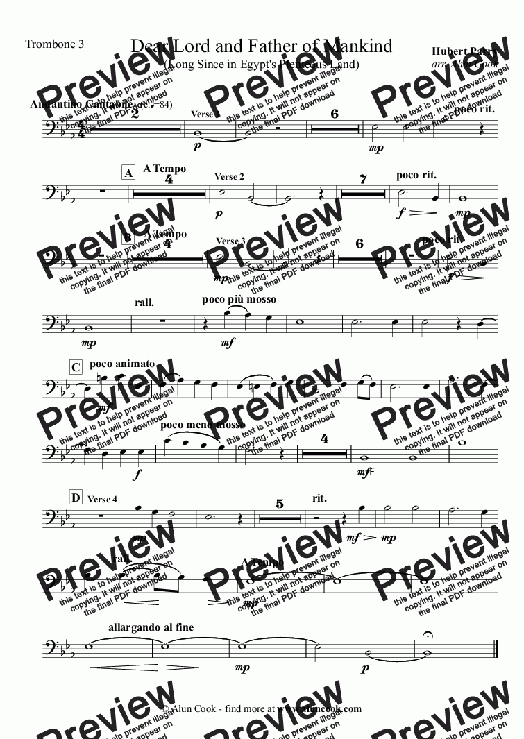 page one of the Trombone 3 part from Dear Lord and Father of Mankind (10 Piece Brass)