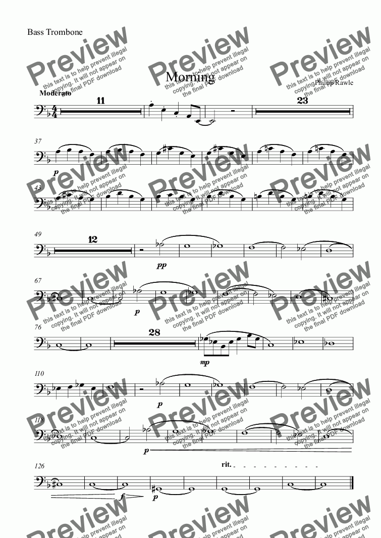 page one of the Bass Trombone part from Morning