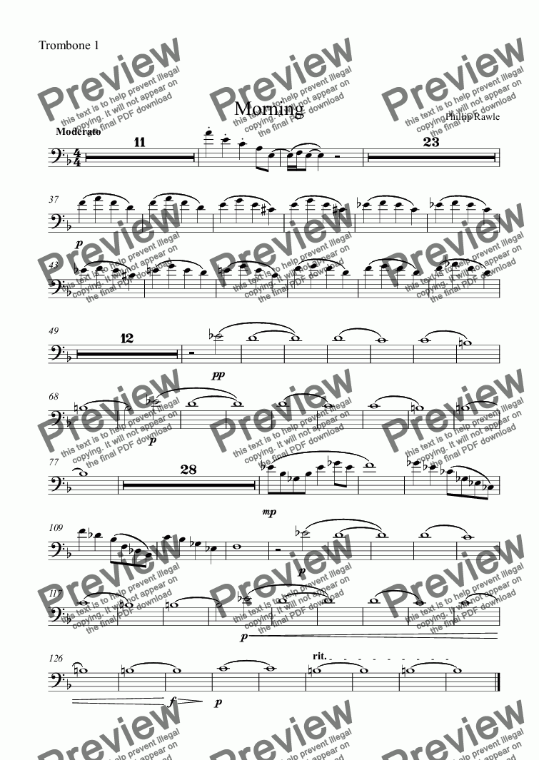 page one of the Trombone 1 part from Morning