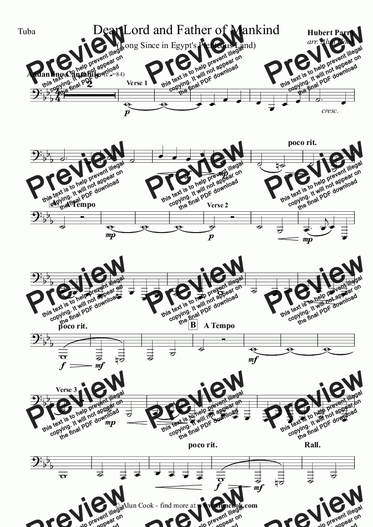 page one of the Tuba part from Dear Lord and Father of Mankind (10 Piece Brass)