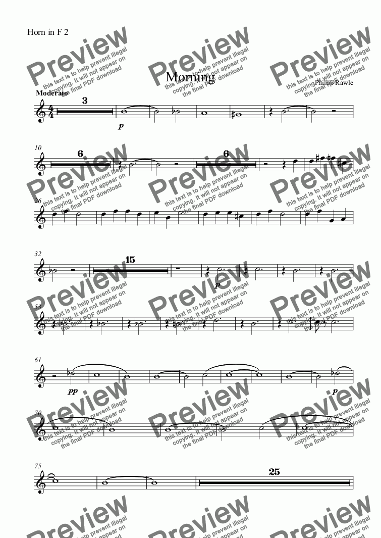 page one of the Horn in F 2 part from Morning