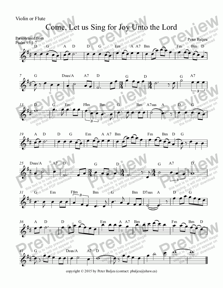 page one of the Violin or Flute part from Come, Let us Sing for Joy Unto the Lord